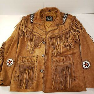 Real Leather Mens M Brown Suede Southwestern Style